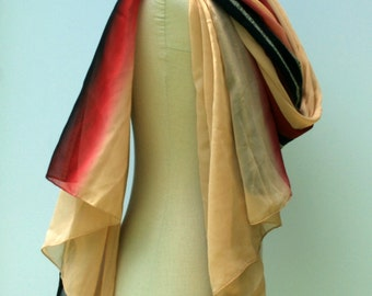 Indian scarf, Ethnic Vintage Scarf, Dupatta stole scarf, beige red black summer scarf, Bohemian shoulder shawl, cover up travel BoHo scarf