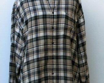 Vintage Men very soft Flannel Shirt, Comfy cotton man woman shirt, tartan plaid grunge hipster, 90s L XL tan khaki shirt, button down shirt