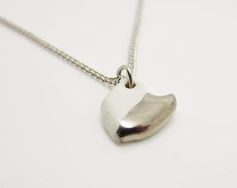 Metallic Silver and White Half Dipped Ohio Necklace Glazed Ceramic on an 18 inch Silver Chain