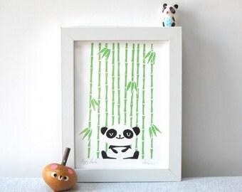 Happy Panda - A5 - 2 colour screenprint