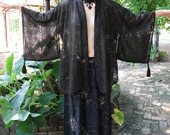 Art Deco Black Metallic Lace Kimono Tassel Jacket by Louise Black