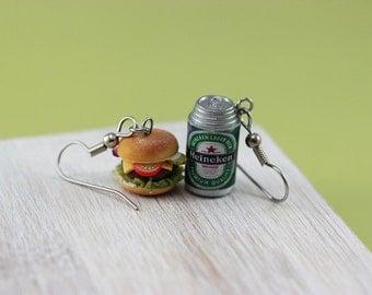 Cheeseburger and Beer Earrings
