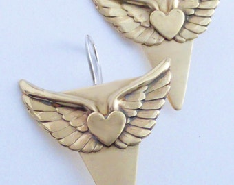 PEACE Winged Heart  Brass & Sterling Handcrafted Earrings