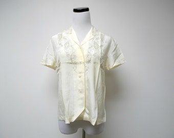 off white embroidered pure silk blouse / shirt . size 38 / fits a small to medium