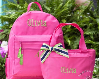 Gift Set -  Name Monogrammed Backpack and Lunchbox - Personalized Solid Color School Girls Back Pack Book Bag kids childrens lunch bag mono