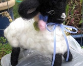 Needle Felted Lamb Doll/Heirloom Collectible/ Pansy-Little Flower Lamb