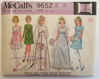 1960's Wedding Dress Pattern McCall's 9652 size 10