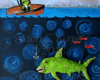Silent Mylo Tuxedo Cat Art - 8x10 Print - Tuxedo Cat on Fishing Trip - Funny Cat with Fish Print - Gift for Cat Lover - Funny Cat Art