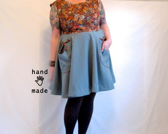 Square and Circle Dress -- plus size, size 22, 2X, xxl, petite - fit & flare, pockets - autumn floral cotton, grey suiting -- 49B-42W-75H