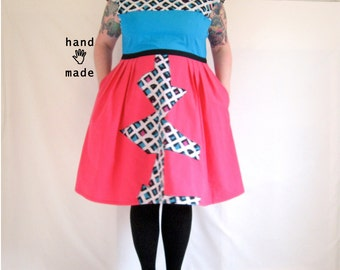 Coasting Dress, 80's color block --  plus size, size 20, size 22, 2X, xxl -  handmade in vintage cotton fabrics -- 50B-42W-60H