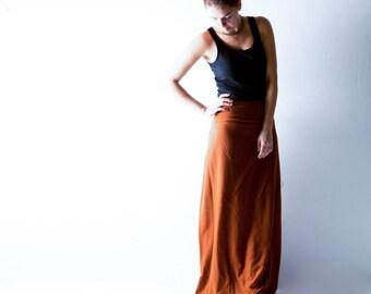 Wool skirt, Wrap skirt, Maxi Skirt, Long skirt, Orange skirt, Aline skirt, Boho skirt, Winter skirt, Maternity clothes, bohemian skirt