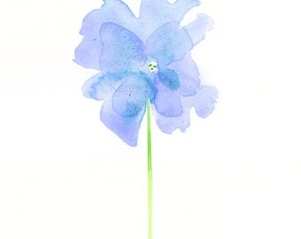 "Original watercolor flower painting ""Periwinkle Petals"""