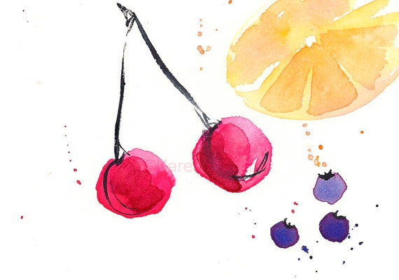 "Watercolor print of cherries, blueberries and citrus: ""Fruit Punch"""