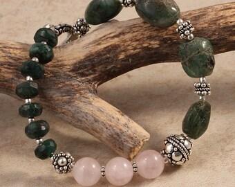 Emerald Bracelet May Birthstone, Rose Quartz Gemstone Bracelet, Turkish Sterling Silver Bali, Earthy Natural Woodland Beaded Bracelet BMAY