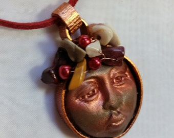 Red Moonface/ Necklace/Pendant/ Polymer clay pendant