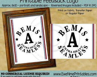 Bemis A Seamless Thread  Printable Feedsack Logo - Bemis A Seamless - U-Print JPG and/or PDF File