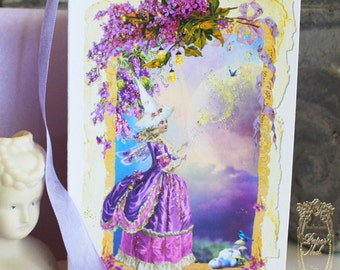 Marie Antoinette Fairy Godmother Bippity Boppity Boo Fairy Magic Folding Card with Shimmering Lilac Envelopes Set of 6