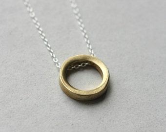 Brass Minimal Necklace, Brass Geometric Jewelry, Modern Minimal Jewelry, Mixed Metal Jewellery, Modern Brass Jewellery, Brass Round Circle
