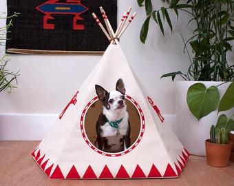 Vermilion Dog Teepee w/ bed, Dog House, Dog Bed, Dog Tipi, Pet Teepee