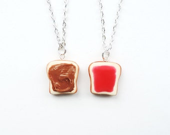 Peanut Butter and Jelly Best Friends Necklace Set Strawberry Jam