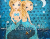 Mermaid Art -  Print on Canvas - Canvas Art - Art for Children -Mermaid Sisters - Mermaid Decor- Any Size on Canvas You Pick