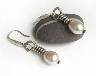 Simple Sterling Silver Freshwater Pearl Earrings