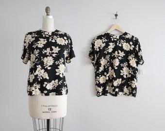 black floral blouse / rayon blouse / vintage women's blouse