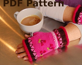 Cupcake Fingerless Mitts - pattern for adult size