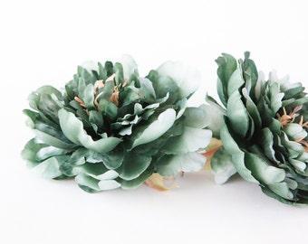 Medium Green Blue Spruce Peony - 4.5 Inches - Silk flower - Artificial Flower - ITEM 0894
