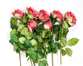 6 Amazing Confetti Rose Stems in Two Tone Pink - Stemmed Silk Roses - ITEM 0930