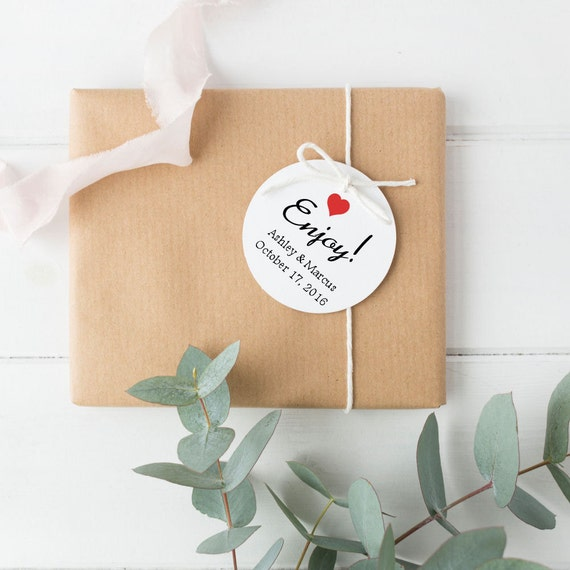 Round Wedding Gift Tags : Wedding Favor Tags - Round Personalized Favor Tags - Enjoy Tags - Baby ...