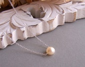 Perfect Pearl Necklace - Single Pearl Necklace, Button Freshwater Pearl Necklace, Sterling Silver or Gold filled Chain