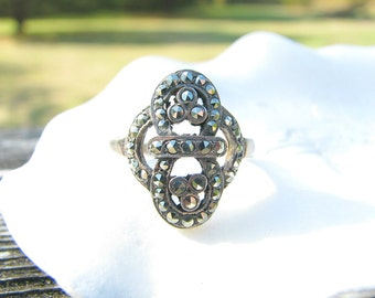 Art Deco Sterling Silver Marcasite Ring, Super Sparkly with Great Design, Elegant and Substantial, Circa 1920's to 1930's