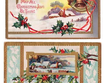 2 Vintage Christmas Postcards - over 100 years old - Great for Display