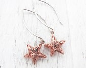star earrings, rose gold earrings, sterling silver star earrings, celestial, gift for her, astronomy gift, star jewelry, Holiday jewelry