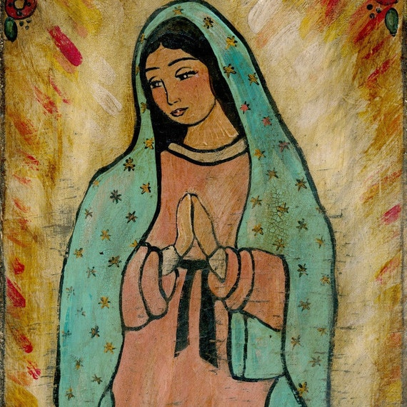 Print our lady of guadalupe mexican folk art for Our lady of guadalupe arts and crafts