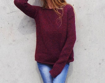oversized burgundy sweater, slouchy, pullover, extra long sleeve, alpaca