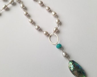 Abalone Gray Pearl Long Silver Chain Necklace, Paua Shell Jewelry, Carrie Whelan Designs