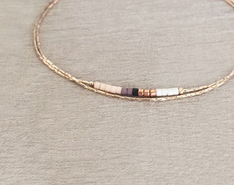 Minimalist Delicate Rose Gold Bracelet with Tiny Beads // Thin Dainty & Colorful Bracelet // Multicolor Boho Friendship Bracelet