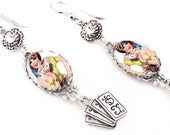 Silver Dangle Fortune Teller Earrings with Crystals, The Fortune Teller, Photo Glass Jewelry, Dangle Earrings
