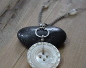 Antique Mother of Pearl Button & Moonstone Sterling Silver Necklace