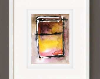 "Abstract Watercolor Painting, Spiritual Art, Original Minimalist Colorful, black, yellow, brown, ""Magic Window 5""  Kathy Morton Stanion EBSQ"