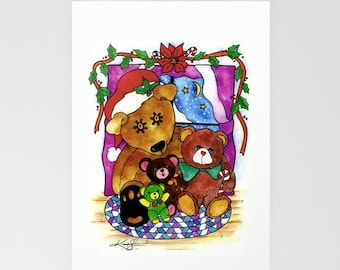 Holiday Bears - Beautiful Blank Christmas Greeting Cards from Original art by Kathy Morton Stanion EBSQ