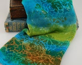 "Double Knit Sock Blanks- ""Sea Garden"" stripes of turquoise, emerald, teal, lime and mustard stenciled with green and blue swirl design"