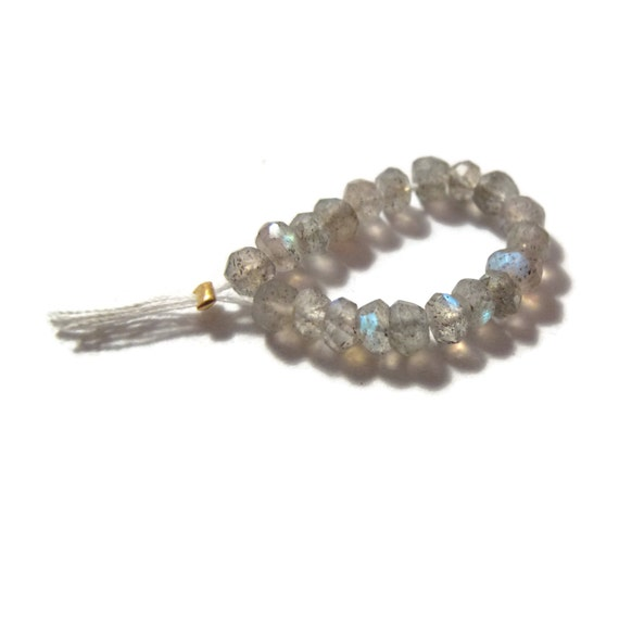 20 Labradorite Rondelles, Faceted 3.5mm Natural Gemstones, Twenty Count of Beautiful Beads (L-Lab5)