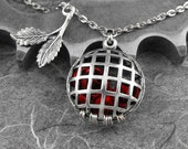 Caged Red Roses Silver Necklace - Capturing Spring's Rose Garden by COGnitive Creations