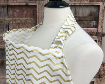 Ready To Ship-Nursing Cover-Gold Chevron-Free Shipping When Purchased With A Wrap