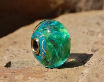 Emerald Isle - Capped & Cored Dan O Lampwork Bead for european style add a bead chains