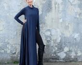 STRETCH Turtleneck Vented Wanderer Long Dress (Med hemp/organic cotton STRETCH knit)