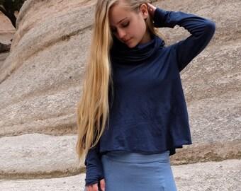 ORGANIC Chunky Cowl Wanderer Cropped Shirt - ( organic tissue cotton knit ) - organic cotton dress
